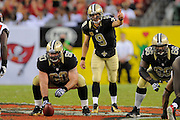New Orleans Saints quarterback Drew Brees (9) during the Saints game against the Tampa Bay Buccaneers at Raymond James Stadium on Sept. 15, 2013 in Tampa, Florida. <br /> &copy;2013 Scott A. Miller