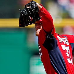 Mar 6, 2013; Clearwater, FL, USA; Washington Nationals starting pitcher Stephen Strasburg (37) throws against the Philadelphia Phillies during the bottom of the first inning of a spring training game at Bright House Field. Mandatory Credit: Derick E. Hingle-USA TODAY Sports