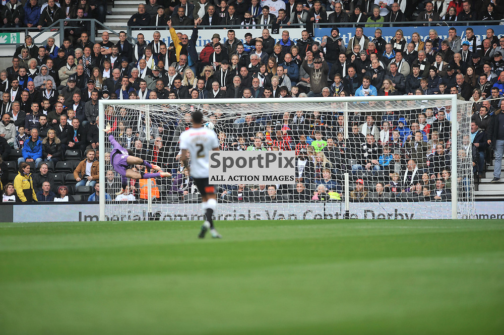 Derbys Chris Martin heads in Derbys First goal celebrates his at Derby, Derby County v Wolves, Sky Bet Championship, Sunday 18th October 2015