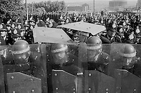 Police behind riot shields at Orgreave during the 1984-85 miners strike. 18 June 1984