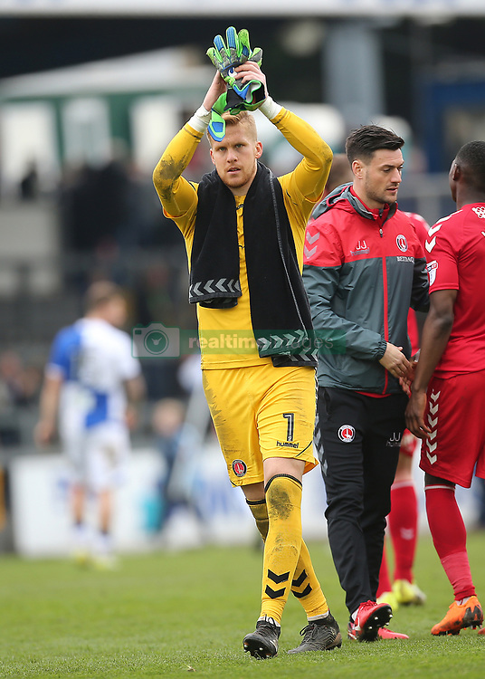 Charlton Athletic Goalkeeper Ben Amos applauds the Charlton Athletic fans at full time