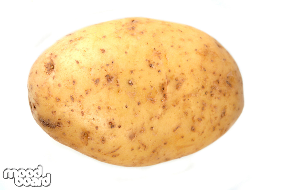 Close up of potato on white background