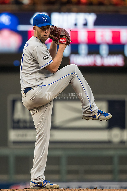 MINNEAPOLIS, MN- APRIL 3: Danny Duffy #41 of the Kansas City Royals pitches against the Minnesota Twins on April 3, 2017 at Target Field in Minneapolis, Minnesota. The Twins defeated the Royals 7-1. (Photo by Brace Hemmelgarn) *** Local Caption *** Danny Duffy