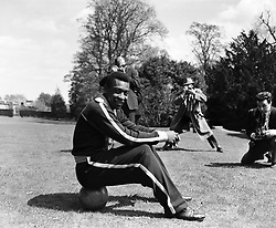 Brazilian football star Pele on the grounds of the Sanderstead Hotel in Surrey.