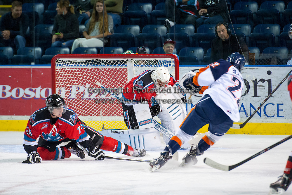 KELOWNA, CANADA - AUGUST 30:  Joe Gatenby #28 tries to block a shot as Jackson Whistle #1 of the Kelowna Rockets makes a save against the Kamloops Blazers on August 30, 2014 during pre-season at Prospera Place in Kelowna, British Columbia, Canada.   (Photo by Marissa Baecker/Shoot the Breeze)  *** Local Caption *** Joe Gatenby; Jackson Whistle;