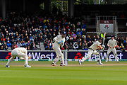Smith repieved by a no ball - Steve Smith of Australia is caught by Ben Stokes of England but he is not out after Jack Leach of England bowled the delivery as a no ball during the International Test Match 2019, fourth test, day two match between England and Australia at Old Trafford, Manchester, England on 5 September 2019.