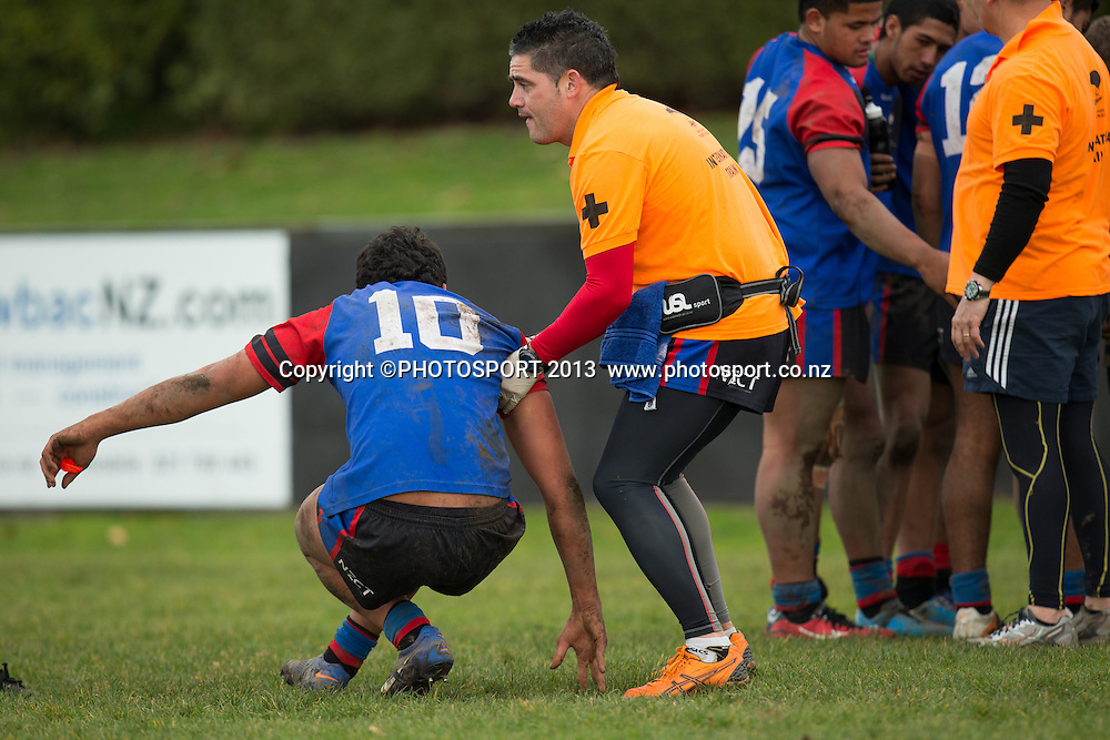 Injured UCZ's Tiki Harawira during the rugby league match between Upper Central Zone U18 and NSW Country U18, at Puketawhero Park, Rotorua, New Zealand, Saturday 13 July 2013.  Photo: Stephen Barker/photosport.co.nz