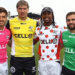 DURBAN, SOUTH AFRICA, 5 April, 2016 -  Paul Jordaan with Etienne Oosthuizen Odwa Ndungane and Cobus Reinach during The Cell C Sharks training session  at Growthpoint Kings Park in Durban, South Africa. (Photo by Steve Haag)<br /> images for social media must have consent from Steve Haag