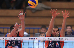 Alen Pajenik and Nick Cundy at volleyball match of CEV Indesit Champions League Men 2008/2009 between Trentino Volley (ITA) and ACH Volley Bled (SLO), on November 4, 2008 in Palatrento, Italy. (Photo by Vid Ponikvar / Sportida)