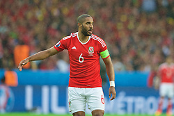 LILLE, FRANCE - Friday, July 1, 2016: Wales' captain Ashley Williams in action against Belgium during the UEFA Euro 2016 Championship Quarter-Final match at the Stade Pierre Mauroy. (Pic by Paul Greenwood/Propaganda)