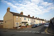 Terraced housing street in Swindon, England