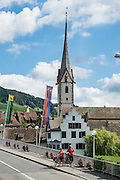 Bicyclists explore Stein am Rhein, which has a well-preserved medieval center in Schaffhausen Canton, Switzerland, Europe.