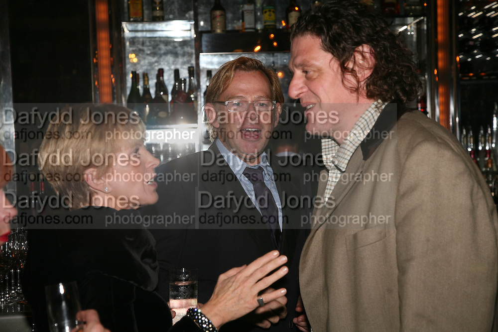 Anne Robinson, David Collins and Marco Pierre White, A A Gill party to celebrate the  publication of Table Talk, a collection of his reviews. Hosted by Marco Pierre White at <br />