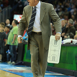 19 January 2009:  Indiana Pacers coach Jim O'Brien screams towards a referee during a NBA regular season game between the Indiana Pacers and the New Orleans Hornets at the New Orleans Arena in New Orleans, LA. .
