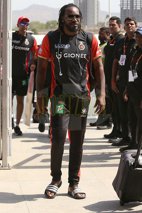 Chris Gayle of the Royal Challengers Bangalore arrives during match 34 of the Vivo 2017 Indian Premier League between the Rising Pune Supergiants and the Royal Challengers Bangalore   held at the MCA Pune International Cricket Stadium in Pune, India on the 29th April 2017<br /> <br /> Photo by Faheem Hussain - Sportzpics - IPL
