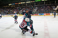 KELOWNA, CANADA - APRIL 25: Mathew Barzal #13 of the Seattle Thunderbirds checks Nick Merkley #10 of the Kelowna Rockets during second period and gets a high sticking penalty on April 25, 2017 at Prospera Place in Kelowna, British Columbia, Canada.  (Photo by Marissa Baecker/Shoot the Breeze)  *** Local Caption ***