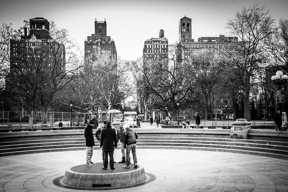 Hanging out in the cold at Washington Square Park, New York City