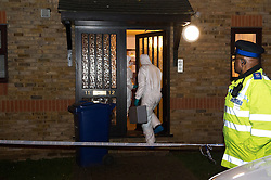 © Licensed to London News Pictures. 19/02/14 Son, 14, of oil millionaire is  murdered. Crime Scene pic: 17/02/2014. Essex, UK. Kent and Essex Serious Crime Directorate have begun a murder investigation after an incident in Grays, Essex. About 1100am this morning police were called to a flat in Roseberry Road, where they found a teenage male with knife wounds. He was declared dead a short while later. An 18 year old male was arrested at the property on suspicion of murder. Photo credit : Simon Ford/LNP