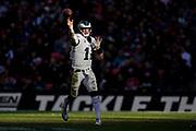 Philadelphia Eagles Carson Wentz QB (11) passes the ball during the International Series match between Jacksonville Jaguars and Philadelphia Eagles at Wembley Stadium, London, England on 28 October 2018.