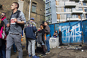 People outside at DJ Gordie's 71st birthday party,  Iceland Road, Hackney Wick, London 2017