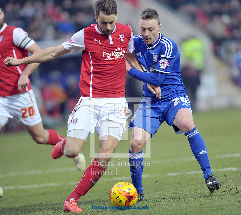 Karl Amason of Rotherham United battles with Freddie Sears of Ipswich Town during the Sky Bet Championship match at the New York Stadium, Rotherham<br /> Picture by Graham Crowther/Focus Images Ltd +44 7763 140036<br /> 07/02/2015