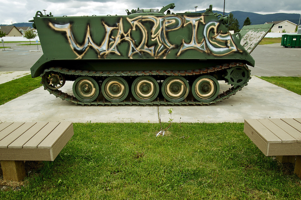 Vandals spray painted the armored personnel carrier and tank on display at the Post Falls American Legion site sometime late Tuesday night or early Wednesday morning.