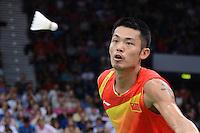 Lin Dan, China, on his way to victory over Indonesia's Taufik Hidayat, Mens singles, Olympic Badminton London Wembley 2012