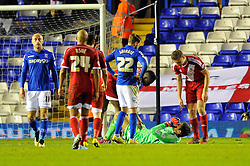 Middlesbrough's Dimitrios Konstantopoulos cuts a dejected figure after he receives a red card for fouling Birmingham City's Clayton Donaldson in the penalty area - Photo mandatory by-line: Dougie Allward/JMP - Mobile: 07966 386802 - 18/02/2015 - SPORT - Football - Birmingham - ST Andrews Stadium - Birmingham City v Middlesbrough - Sky Bet Championship