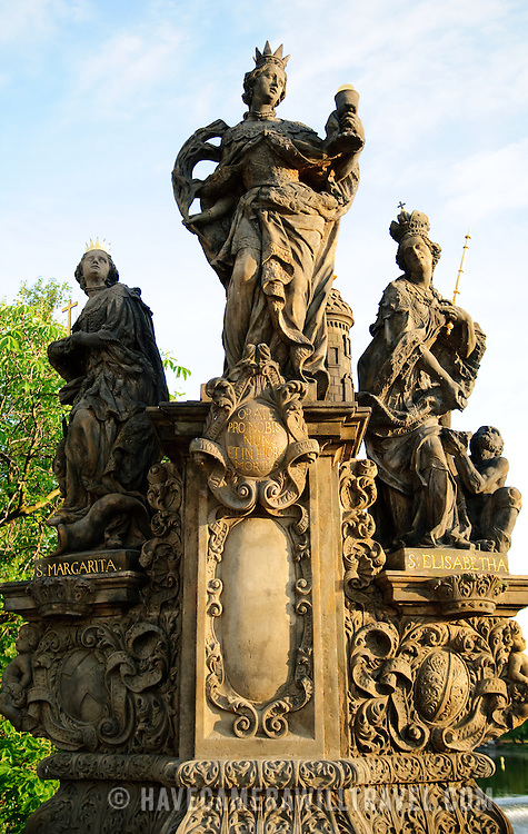 Statues on the historical Charles Bridge in Prague