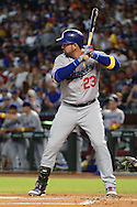 PHOENIX, AZ - SEPTEMBER 17:  Adrian Gonzalez #23 of the Los Angeles Dodgers stands at bat in the first inning against the Arizona Diamondbacks at Chase Field on September 17, 2016 in Phoenix, Arizona. The Dodgers won 6 - 2.  (Photo by Jennifer Stewart/Getty Images)