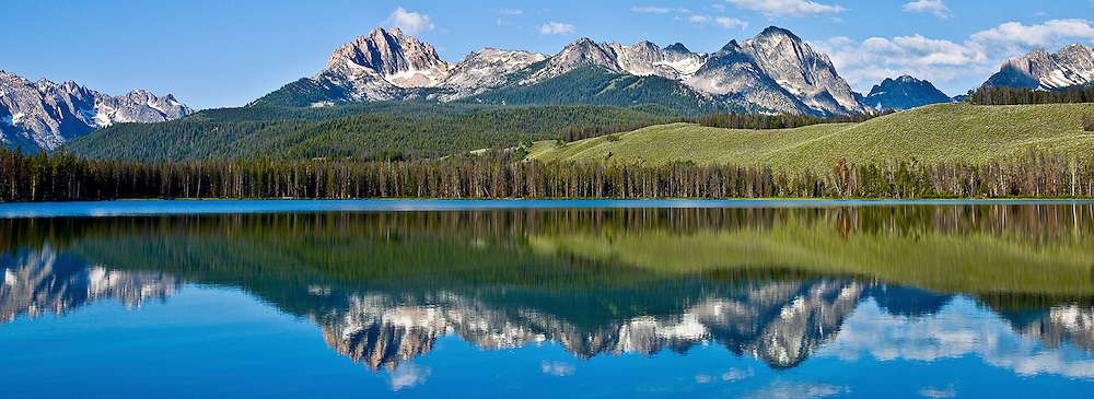 Mt Heyburn at left is at 10229 ft in the Sawtooth Mountain Range taken from Little Redfish Lake in Central Idaho.