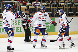 13.11.2010, Olympiahalle, Muenchen, GER, Deutschlandcup , Slovakei vs Deutschland , im Bild Freude nach dem 1-0 Lintner Richard (Slovakia #41) Torschuetze Tomanek Roman (Slovakia #10)  und Mikus Peter (Slovakia #61)  , EXPA Pictures © 2010, PhotoCredit: EXPA/ nph/  Straubmeier+++++ ATTENTION - OUT OF GER +++++