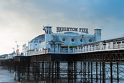 © Licensed to London News Pictures. 31/12/2015. Brighton, UK. Brighton Pier basks in the sunshine on new Years Eve with sunny and warm weather hitting Brighton. Today December 31st 2015. Photo credit: Hugo Michiels/LNP