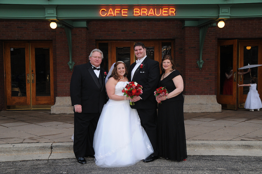 Andy Nelson and Trisha Swanson celebrate their wedding day with family and friends at Cafe Brauer in Chicago's Lincoln Park.