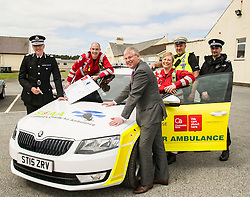Pictured: Chief Constable Phil Gormley, Aircrew Paramedic John Pritcherd, Scottish Police Benevolnet Fund Secretary David Hamilton, Aircrew Paramedic Julia Barnes, Sergent Paul Taylor and Sergent Peter Lorrain-Smith. <br /> The Scottish Police Benevolent Fund has donated £30,000 to help fund Scotland's Charity Air Ambulance (SCAA). Police Scotland Chief Constable Phil Gormley and Scottish Police Benevolent Fund secretary David Hamilton visited SCAA in Perth to thank them for their work. <br /> <br /> Ger Harley | EEm 16 May April 2016
