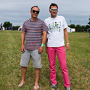 Two men with sunglasses at Farm Fest Bruton, Somerset.