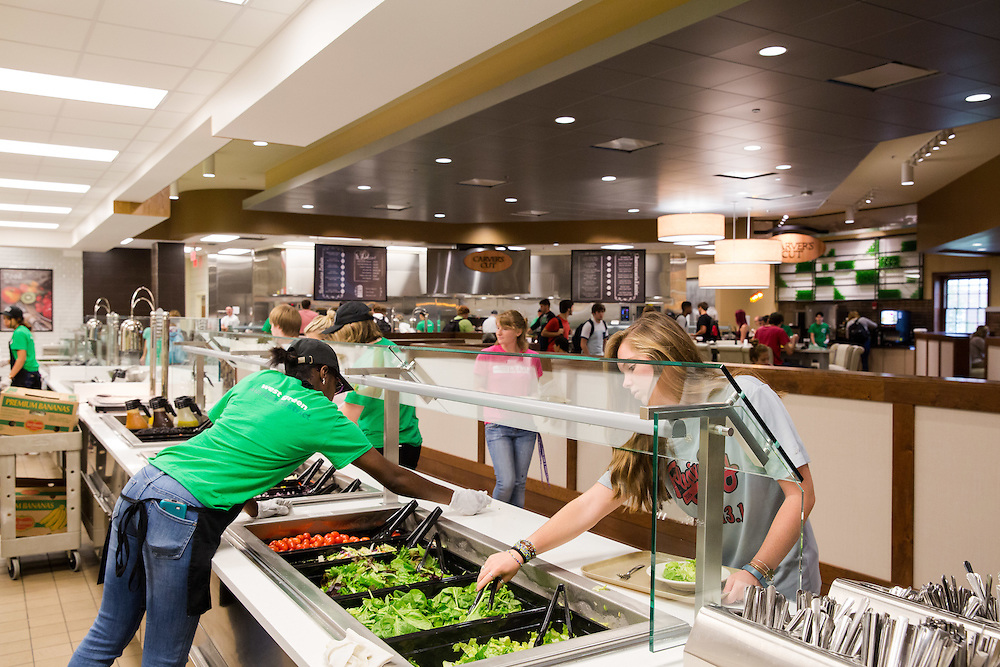 An extended salad bar is one of the many options that students have to choose from at the newley remolded Boyd Dinning Hall.