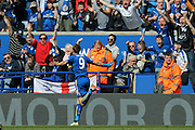 Leicester City forward Jamie Vardy (9) scores a goal and celebrates to make the score 1-0 during the Barclays Premier League match between Leicester City and West Ham United at the King Power Stadium, Leicester, England on 17 April 2016. Photo by Simon Davies.