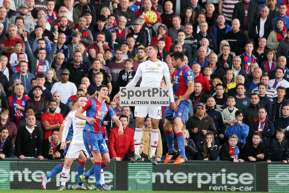 Chris Smalling competes for the ball with Scott Dann During Crystal Palace vs Manchester United on Saturday the 31st October 2015.