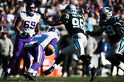 December 10, 2017: Minnesota vs Carolina. Keenum, Case is chased by Wes Horton