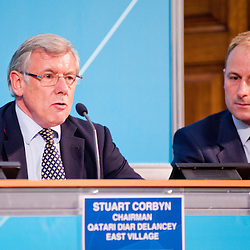 London, UK - 9 August 2012: Stuart Corbyn, Chairman of Qatari Diar Delancey East Village (L) and Gavin Poole, CEO of iCITY (R) during the Press Conference 'Delivering a lasting legacy from the London 2012 Games' at the London Media Centre.