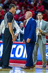 NORMAL, IL - November 06: Casey Alexander has a discussion with Jeb Hartness during a college basketball game between the ISU Redbirds and the Belmont Bruins on November 06 2019 at Redbird Arena in Normal, IL. (Photo by Alan Look)