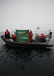 USA ALASKA CHUKCHI SEA 29JUL12 - Greenpeace boat crew protest Shell drilling plans near a proposed drill site in the Chukchi Sea north of Point Hope, Alaska...Photo by Jiri Rezac / Greenpeace..© Jiri Rezac / Greenpeace
