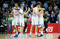 Real Madrid's player Anthony Randolph, Jaycee Carroll, Gustavo Ayon and Sergio Llull celebrating the victory during match of Turkish Airlines Euroleague at Barclaycard Center in Madrid. November 16, Spain. 2016. (ALTERPHOTOS/BorjaB.Hojas)