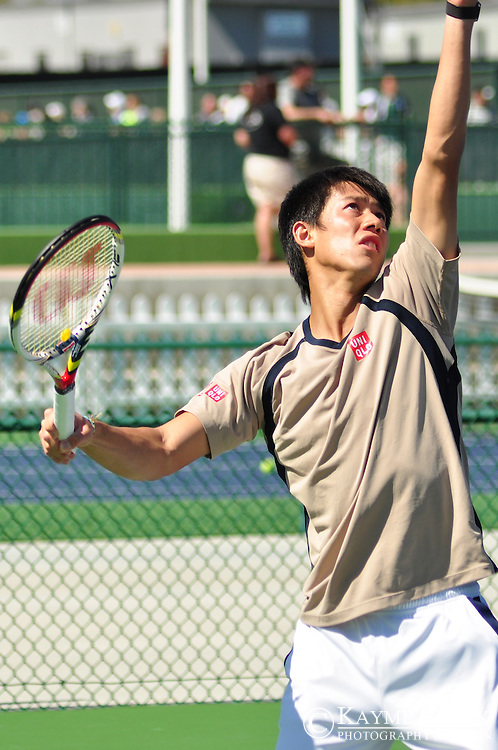 Kei Nishikori at the BNP Paribas Open in Indian Wells, California.
