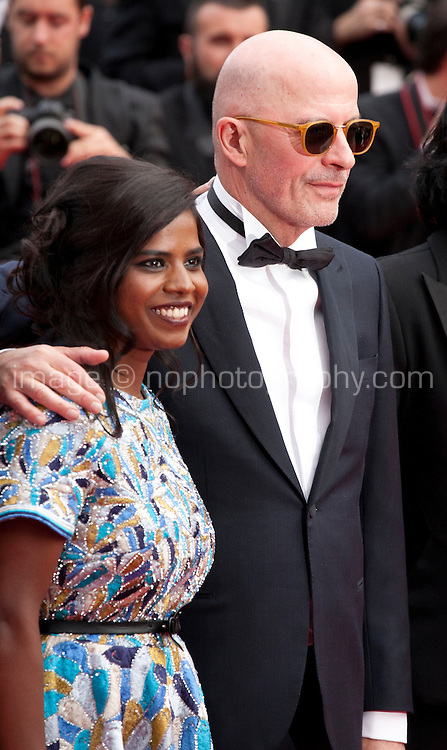 Actress Kalieaswari Srinivasan and director Jacques Audiard at the Closing ceremony and premiere of La Glace Et Le Ciel at the 68th Cannes Film Festival, Sunday 24th May 2015, Cannes, France.