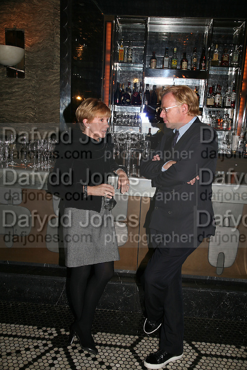 Anne Robinson and David Collins, A A Gill party to celebrate the  publication of Table Talk, a collection of his reviews. Hosted by Marco Pierre White at <br />
