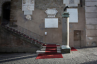 ROME, ITALY - 20 JULY 2014: The entrance to the Campidoglio (the municipal government) shortly after Mayor of Rome Ignazio Marino received Mayor of New York Bill De Blasio and his family,  in Rome, Italy, on July 20th 2014.<br /> <br /> New York City Mayor Bill de Blasio arrived in Italy with his family Sunday morning for an 8-day summer vacation that includes meetings with government officials and sightseeing in his ancestral homeland.
