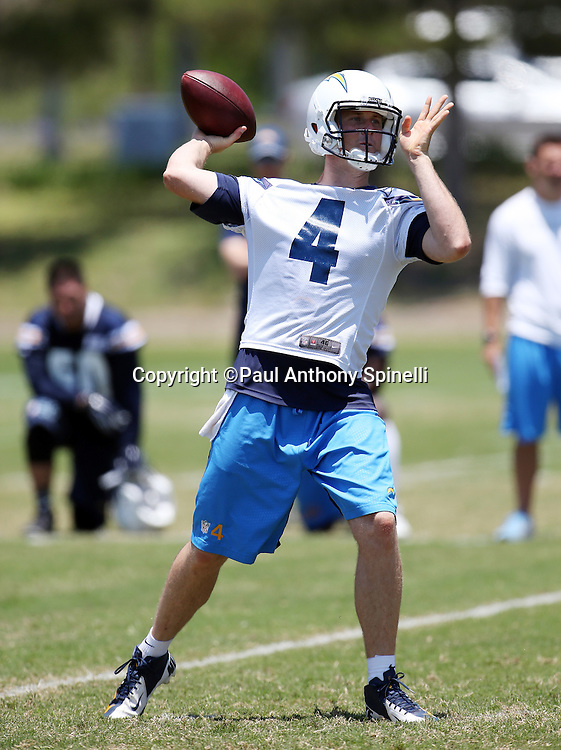 San Diego Chargers quarterback Brad Sorensen (4) throws a pass during the San Diego Chargers Spring 2015 NFL minicamp practice held on Tuesday, June 16, 2015 in San Diego. (©Paul Anthony Spinelli)