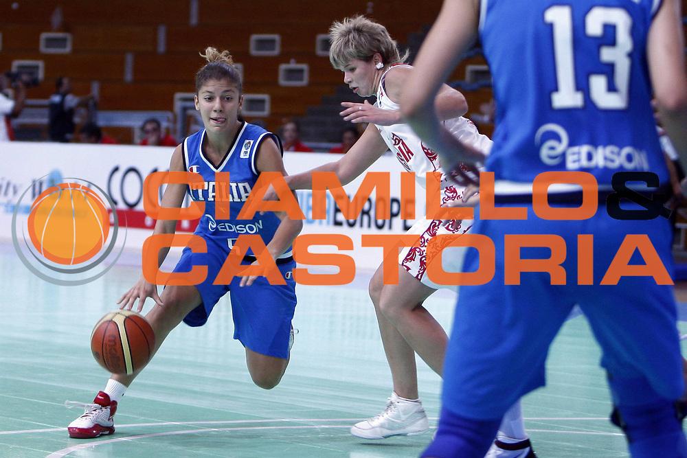 DESCRIZIONE : Napoli Fiba Europe U16 European Championship Women Campionati Europei U16 donne Quarti di Finale Quarter Final Italia Russia Italy Russia<br /> GIOCATORE : Stella Panella<br /> SQUADRA : Nazionale Italia Donne U16 Italy<br /> EVENTO : Fiba Europe U16 European Championship Women Division A<br /> GARA : Italia Russia Italy Russia<br /> DATA : 07/08/2009 <br /> CATEGORIA : palleggio<br /> SPORT : Pallacanestro <br /> AUTORE : Agenzia Ciamillo-Castoria/E.Castoria<br /> Galleria : Fip Nazionali 2009<br /> Fotonotizia : Napoli Fiba Europe U16 European Championship Women Campionati Europei U16 donne Quarti di Finale Quarter Final Italia Russia Italy Russia<br /> Predefinita :